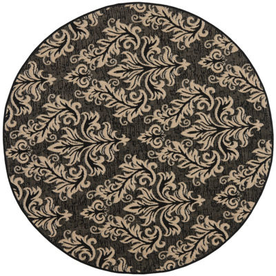 Safavieh Courtyard Collection Domhnall Floral Indoor/Outdoor Round Area Rug