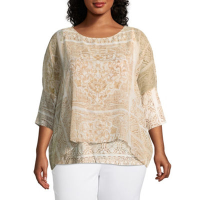 Lark Lane Must Haves Floral Sharkbite Overlay with Tank- Plus