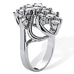 Womens 3 1/2 CT. T.W White Cubic Zirconia Platinum Over Silver Cocktail Ring