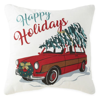 North Pole Trading Co. Happy Holidays Station Wagon Square Throw Pillow