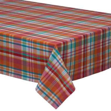 Design Imports Sherbert Plaid Tablecloth
