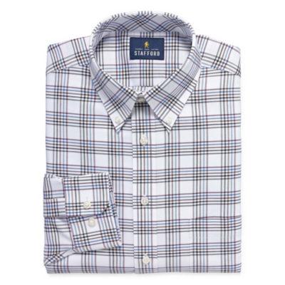 Stafford Travel Wrinkle Free Stretch Oxford Long Sleeve Windowpane Dress Shirt