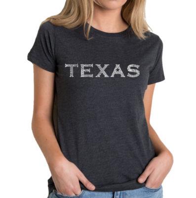 Los Angeles Pop Art Women's Premium Blend Word ArtT-shirt - THE GREAT CITIES OF TEXAS