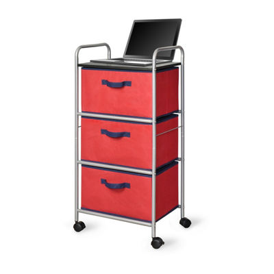 Bintopia™ 3 Drawer Cart with MDF Top - Red/Blue Trim