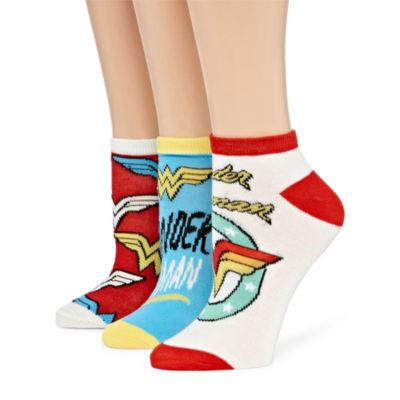 Womens 3 Pk Novelty Low Cut Sock