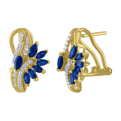 Lab Created Blue Sapphire Drop Earrings