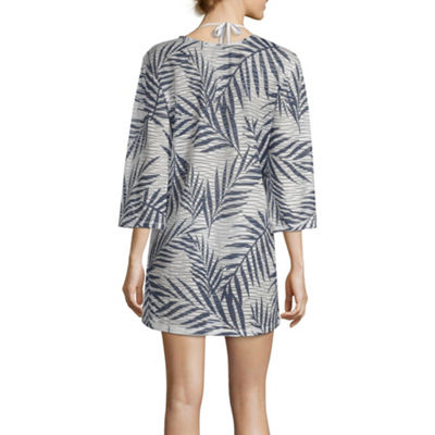 Porto Cruz Leaf Knit Swimsuit Cover-Up Dress