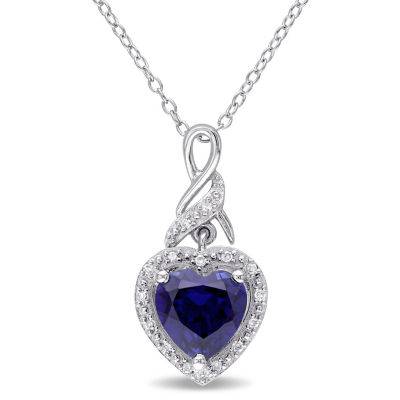 Womens Diamond Accent Lab Created Blue Sapphire Sterling Silver Heart Pendant Necklace