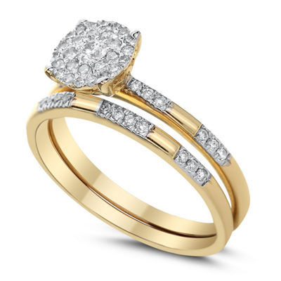 Womens 3/8 CT. T.W. Genuine White Diamond 14K Gold Bridal Set