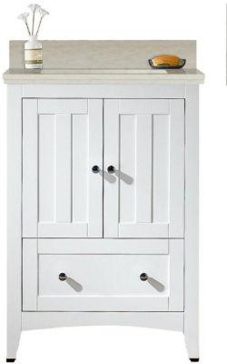 23.75-in. W Floor Mount White Vanity Set For 3H4-in. Drilling Beige Top Biscuit UM Sink