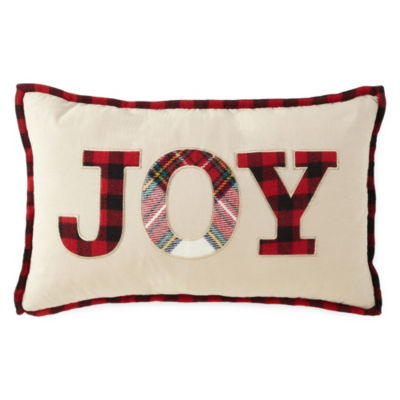 North Pole Trading Co. Joy Plaid Rectangular Throw Pillow