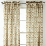 JCPenney Home Hilton Damask Light-Filtering Rod-Pocket Curtain Panel