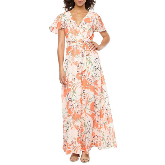 Be by CHETTA B Short Sleeve Floral Maxi Dress