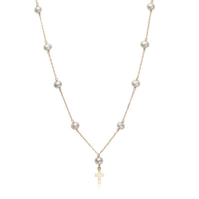 Womens White Cultured Freshwater Pearl 14K Gold Cross Pendant Necklace