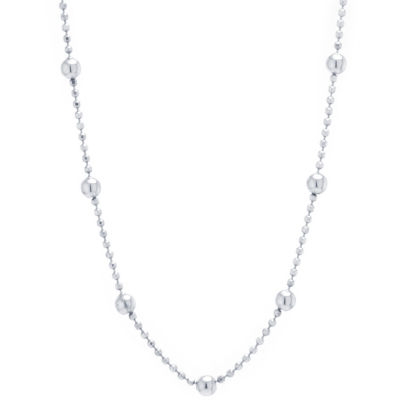Silver Treasures Station Chain Bead Choker Womens Sterling Silver Choker Necklace