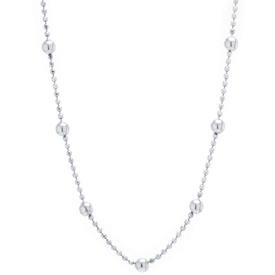 Silver Treasures Station Chain Bead Choker Sterling Silver 24 Inch Bead Choker Necklace