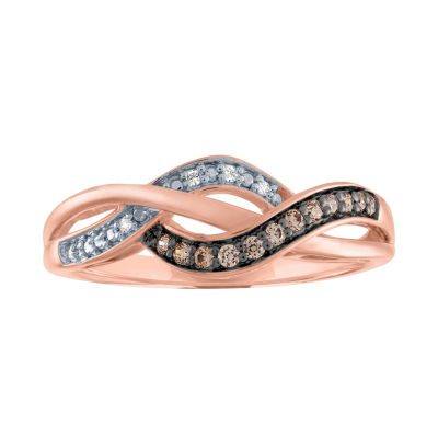 Womens 1/10 CT. T.W. Genuine Champagne Diamond 14K Rose Gold Over Silver Cocktail Ring