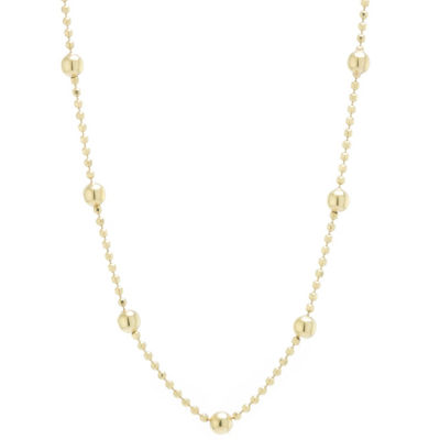 Silver Treasures Station Chain Bead Choker Womens 24K Gold Over Silver Choker Necklace