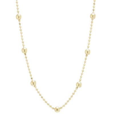 Silver Treasures Station Chain Bead Choker Womens Choker Necklace