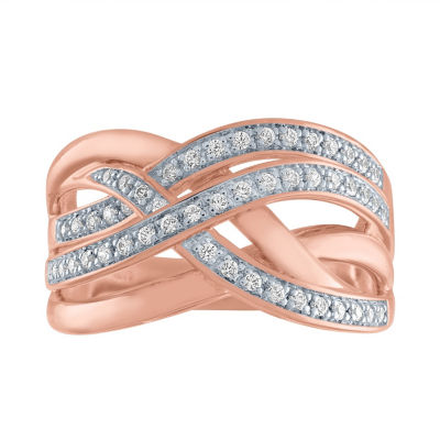 Womens 1/4 CT. T.W. Genuine Diamond 14K Rose Gold Over Silver Cocktail Ring
