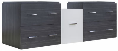 60.5-in. W 17.8-in. D Modern Wall Mount Plywood-Melamine Vanity Base Set Only In White-Dawn Grey