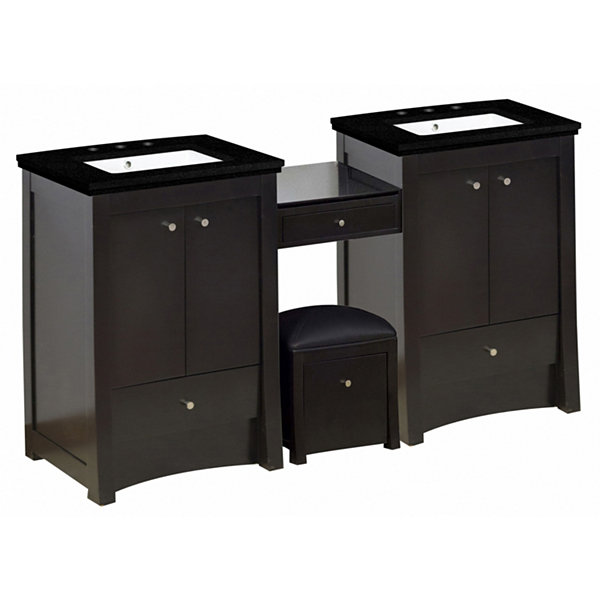 84.75-in. W Floor Mount Distressed Antique WalnutVanity Set For 3H8-in. Drilling Black Galaxy Top White UM Sink