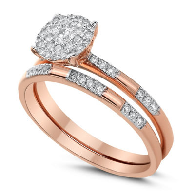 Womens 3/8 CT. T.W. Genuine White Diamond 14K Rose Gold Bridal Set