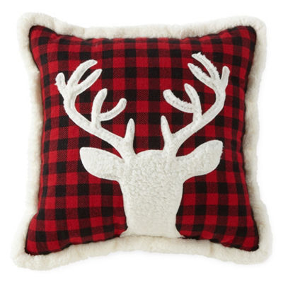 North Pole Trading Co. Deer Plaid Square Throw Pillow
