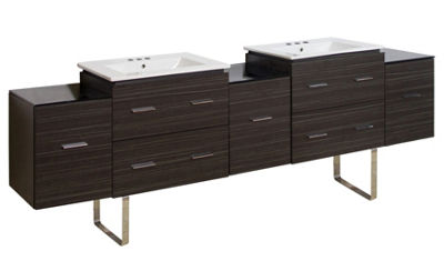 88.5-in. W Floor Mount Dawn Grey Vanity Set For 3H4-in. Drilling