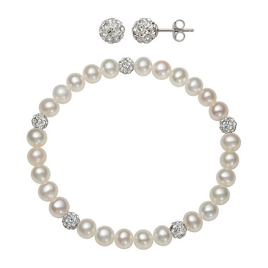 White Cultured Freshwater Pearl Sterling Silver Round 2-pc. Jewelry Set