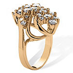Womens 3 1/2 CT. T.W White Cubic Zirconia 14K Gold Over Brass Cocktail Ring