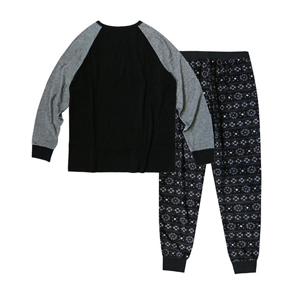 Holiday #Famjams Black and Grey Fairisle 2 Piece Pajama Set -Men's