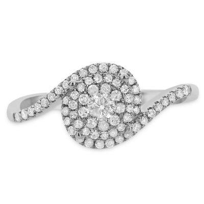 Womens 3/8 CT. T.W. Genuine White Diamond 14K White Gold Engagement Ring
