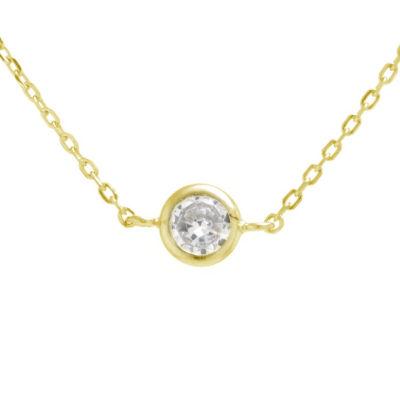 Silver Treasures Bezel Set Choker Womens Cubic Zirconia 24K Gold Over Silver Necklace