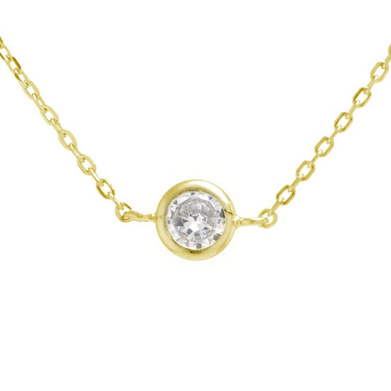 Silver Treasures Bezel Set Choker Womens Cubic Zirconia 24K Gold Over Silver Necklace