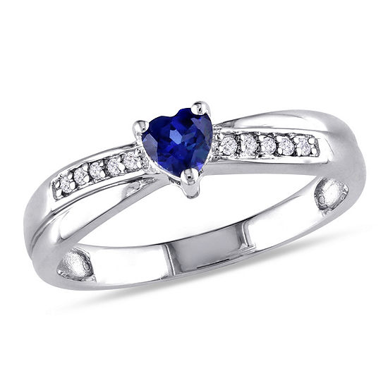 Womens Diamond Accent Lab Created Blue Sapphire Sterling Silver Heart Cocktail Ring