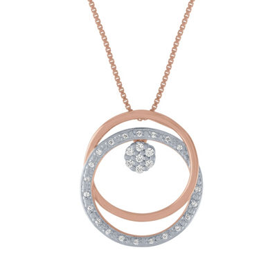 Diamond Blossom Womens 1/10 CT. T.W. Genuine Diamond 14K Rose Gold Over Silver Sterling Silver Pendant
