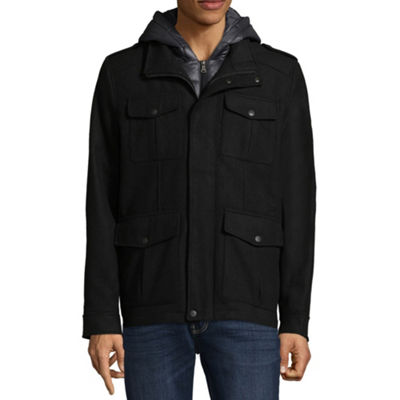 Dockers Wool Blend Military Peacoat With Hood