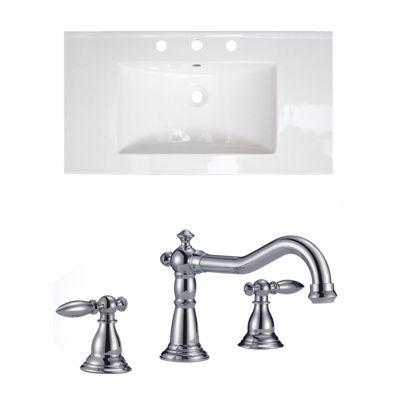 36.75-in. W 3H8-in. Ceramic Top Set In White Color- CUPC Faucet Incl.