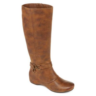 Yuu Womens Tasha Dress Boots Wedge Heel Zip