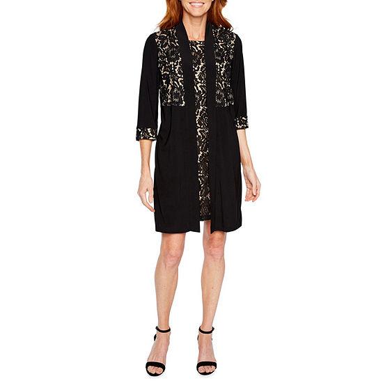 Perceptions 3/4 Sleeve Lace Faux Jacket Dress