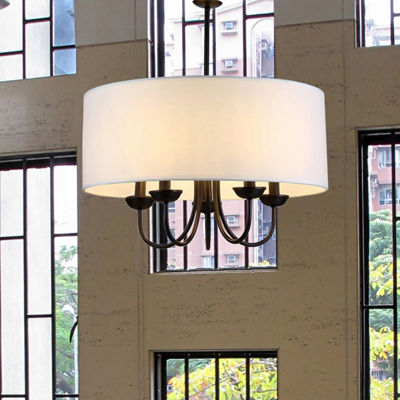 Warehouse Of Tiffany Gwenevere 5-light White Fabric 22-inch Black-finish Chandelier