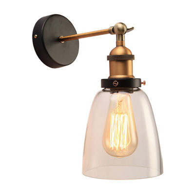 Warehouse Of Tiffany Barbara 1-light Clear Glass Edison Wall Lamp with Light Bulb