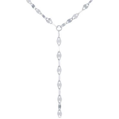 Silver Treasures Bezel Set Y-Necklace Womens Sterling Silver Y Necklace