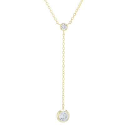 Silver Treasures Mirror Chain Y-Necklace Womens Clear Cubic Zirconia 24K Gold Over Silver Round Y Necklace