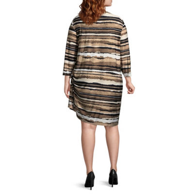 Lark Lane Must Haves Torn Stripe Dress with Side Ruching- Plus