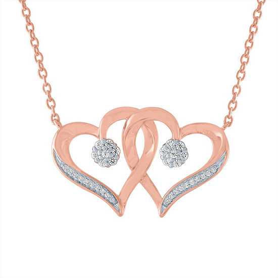 Diamond Blossom Womens 1/10 CT. T.W. Genuine Diamond 14K Rose Gold Over Silver Heart Pendant