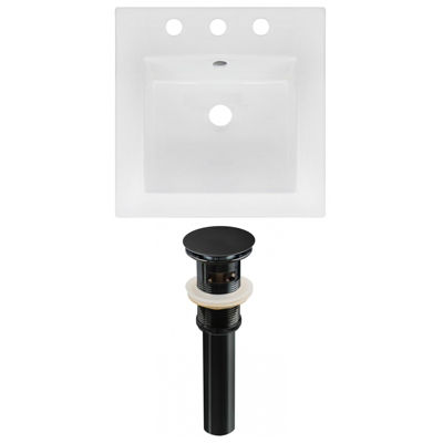 16.5-in. W 3H8-in. Ceramic Top Set In White Color- Overflow Drain Incl.