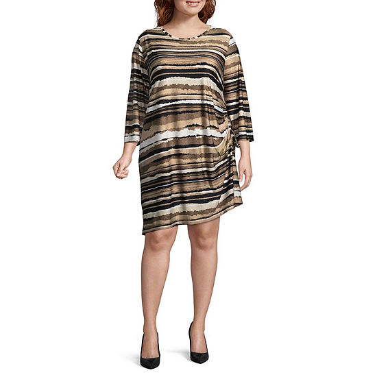 Lark Lane Must Haves Torn Stripe Dress with Side Ruching- Plus