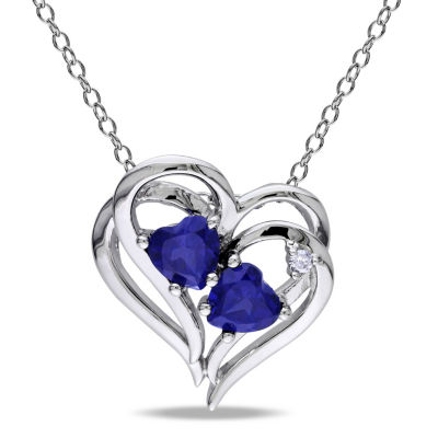 Womens Diamond Accent Blue Sapphire Sterling Silver Heart Pendant Necklace